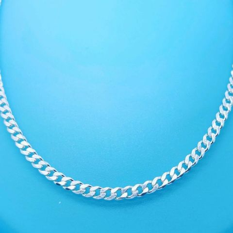 Genuine Hallmarked 925 Sterling Silver Bevel Edged Curb Chain Avai In Diff Sizes